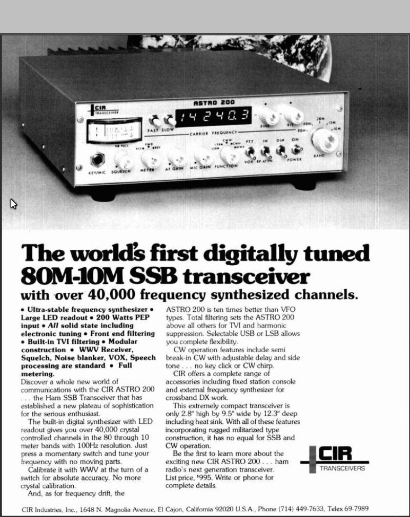 The short-lived CIR Astro 200 - July 1977 HR magazine ad