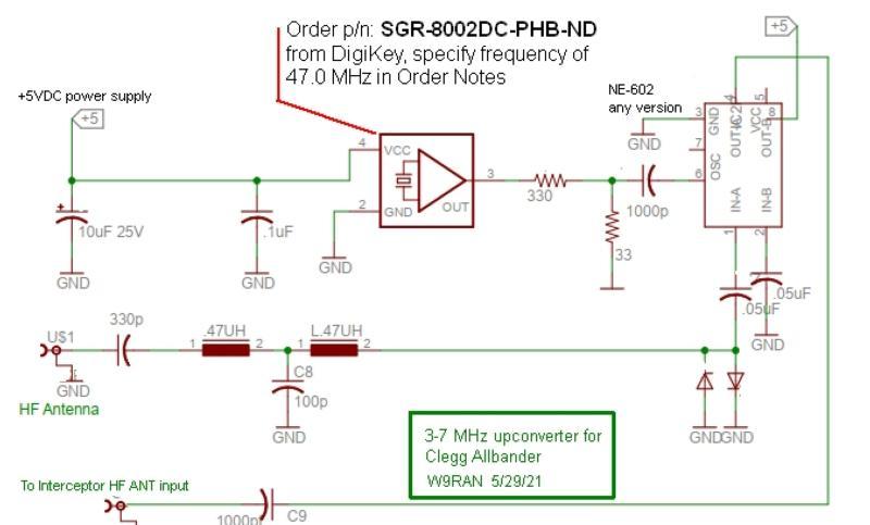 Schematic for 3-7 MHz upconverter (Allbander clone)