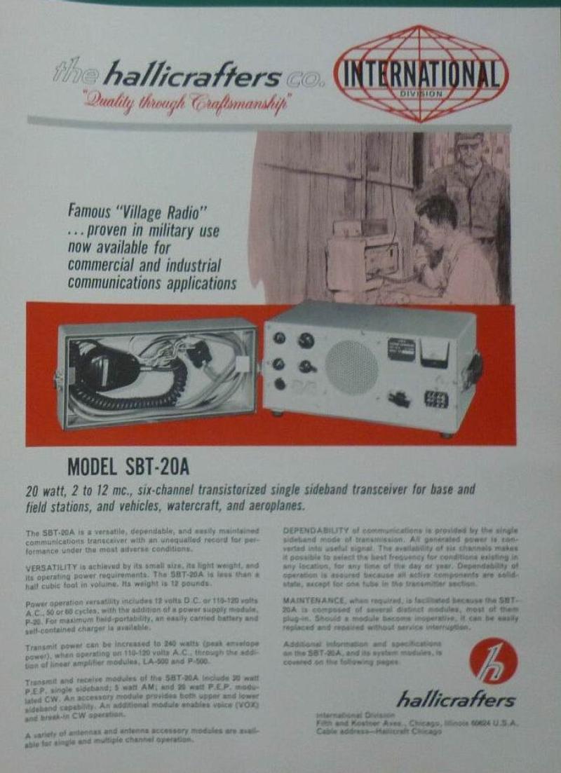 Hallicrafters SBT-20A brochure