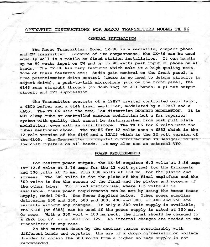 TX-86 instructions page 1