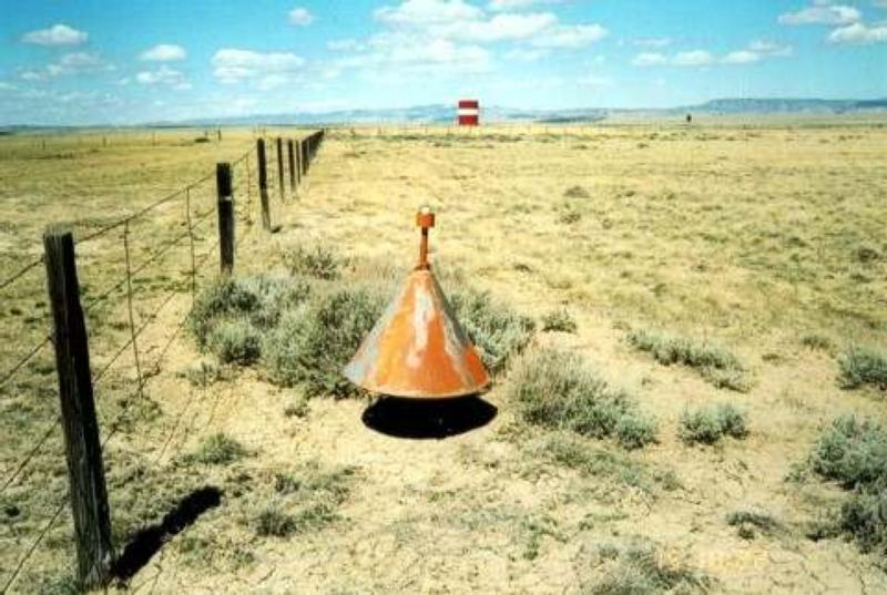 A boundary cone with its original 32 watt light bulb intact