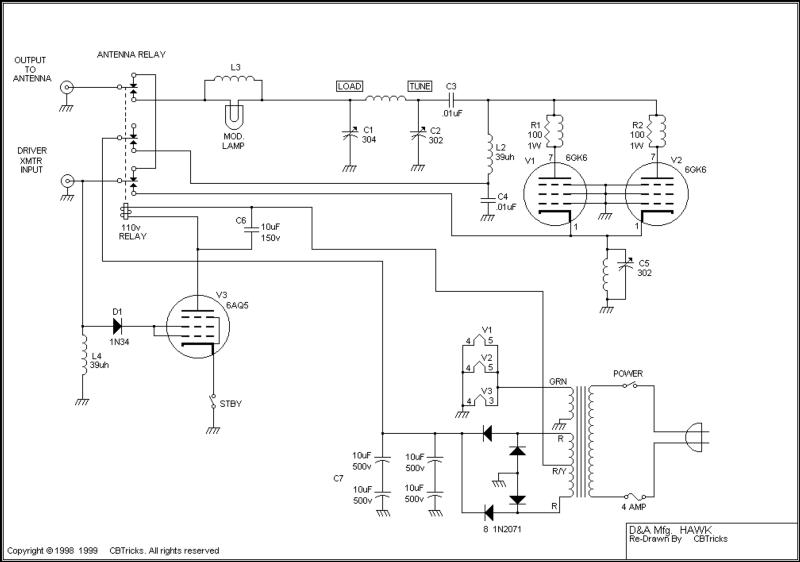D&A Hawk amplfier schematic (my modifications not shown)