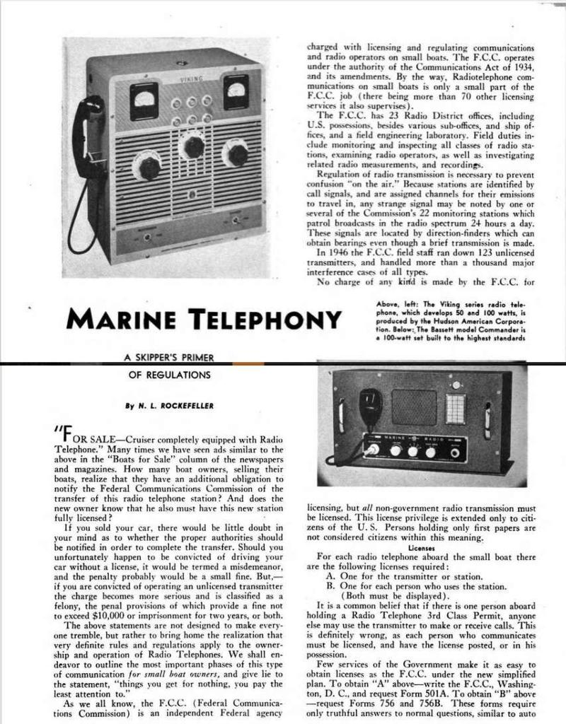 Marine radiotelephone article page 1