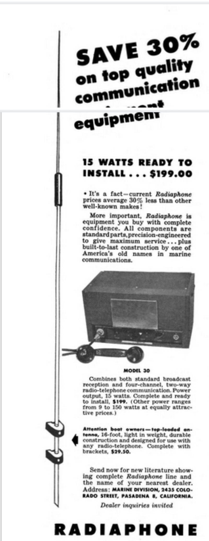 Competitor:  Radiaphone ad